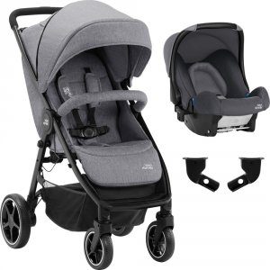 Pack poussette duo b-agile m + baby safe grey