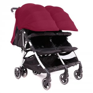 Poussette double kuki twin silver / bordeaux