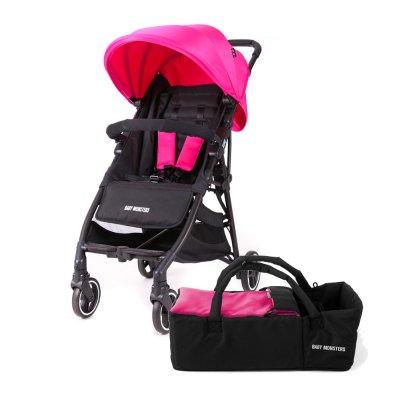 Pack poussette duo kuki avec nacelle souple rose fuschia Baby monsters