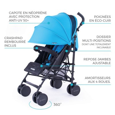 Poussette canne fast turquoise Baby monsters