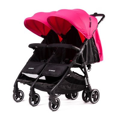 Poussette double kuki twin avec 2 nacelles souples fuschia Baby monsters