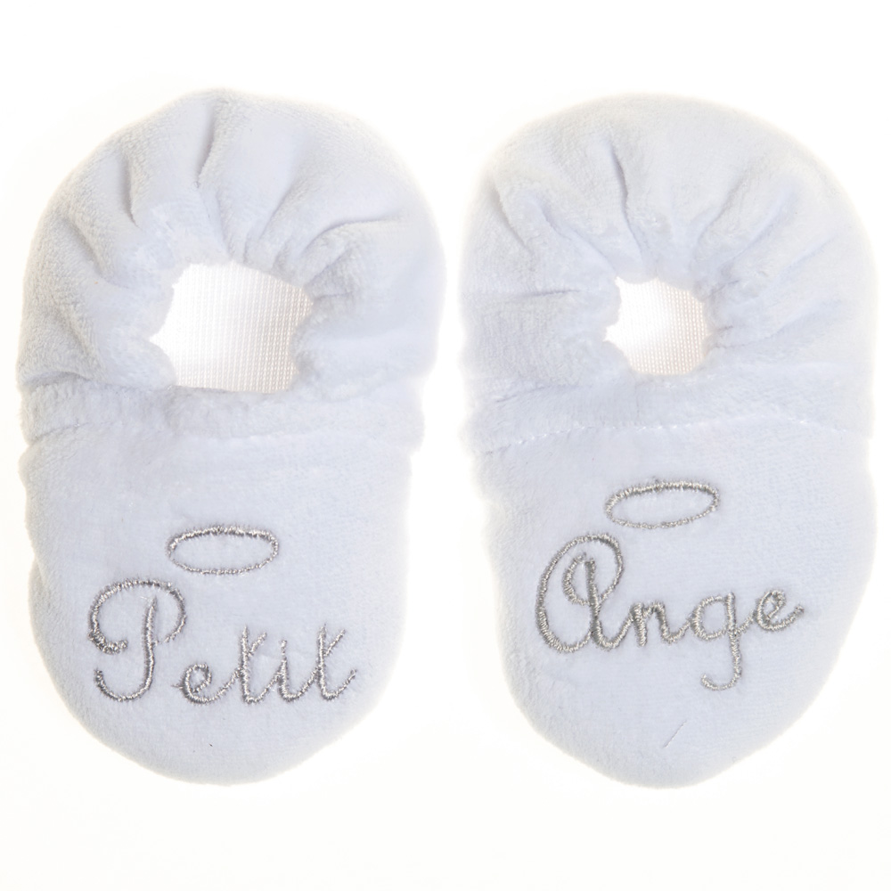 chaussons b b velours brod petit ange blanc de bulle de bb en vente chez cdm. Black Bedroom Furniture Sets. Home Design Ideas