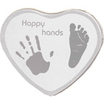 Boîte empreintes bébé métal forme coeur argent pas cher
