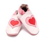Chaussons bébé double coeur rose et rouge 0-6 mois pas cher