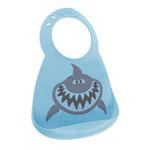 Bavoir en silicone souple le requin bleu et gris