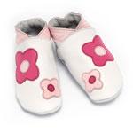 Chaussons bébé flower power blanc et rose 6-12 mois pas cher