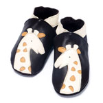 Chaussons bébé girafe brun crème 6-12 mois pas cher