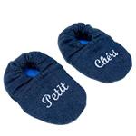 Chaussons bébé denim petit chéri denim rayé bleu pas cher