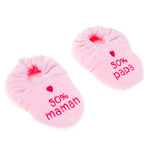 Chaussons bébé velours brode 50% maman, 50% papa rose