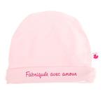Bonnet bébé doublé pur coton fabriqué avec amour rose pastel