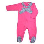 Pyjama bébé col claudine et gros noeud rose liberty girs