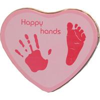 Boîte empreintes bébé métal forme cœur rose