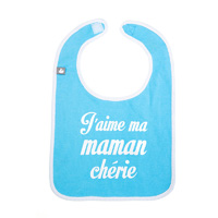 Bavoir j'aime ma maman chérie turquoise et blanc