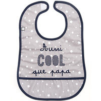 Bavoir en coton enduit avec poche aussi cool que papa gris et marine