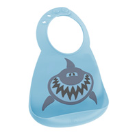 Bavoir en silicone souple le requin bleu et gris
