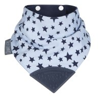 Bavoir bandana avec anneau de dentiton étoiles bleu