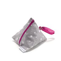 Pochette sucette en coton enduit gris étoile et rose
