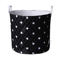 Grand panier de rangement noir étoiles