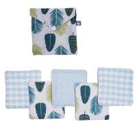 Lot de 5 lingettes lavables pur coton avec pochette assortie feuilles