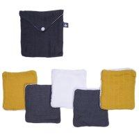 Lot de 5 lingettes lavables pur coton avec pochette assortie gris