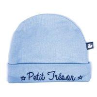 Bonnet bébé doublé pur coton petit trésor bleu ciel