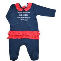 Pyjama été à volant adorable marine et rouge