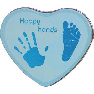 Boîte empreintes bébé métal forme coeur bleu