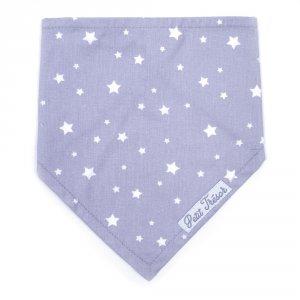 Bavoir bandana petit trésor étoile gris et blanc