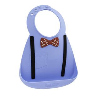 Bavoir en silicone souple effet nœud pap' et bretelles bleu