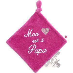 Doudou velours brodé mon coeur est à papa rose