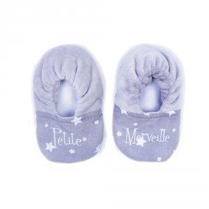 Chaussons bébé bi-matière petite merveille gris et blanc