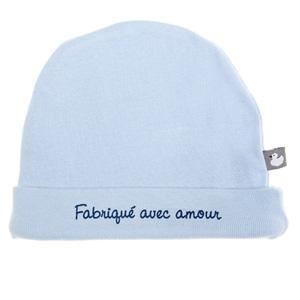 Bonnet bébé doublé pur coton fabriqué avec amour bleu ciel