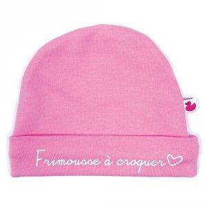 Bonnet bébé doublé pur coton frimousse à croquer rose