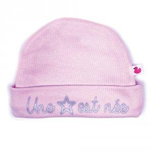 Bonnet bébé doublé pur coton une étoile est née rose pastel