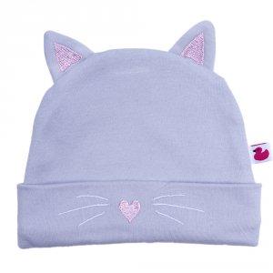 Bonnet doublé pur coton petit chat avec oreilles gris et rose