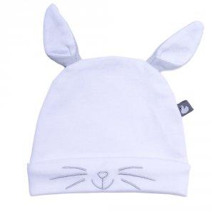 Bonnet doublé pur coton petit lapin avec oreilles blanc et gris