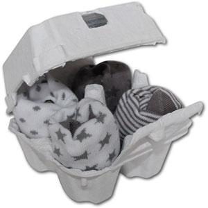 Lot de 4 paires de chaussettes bébé gris et blanc
