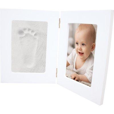 Double cadre blanc photo et empreinte Bulle de bb