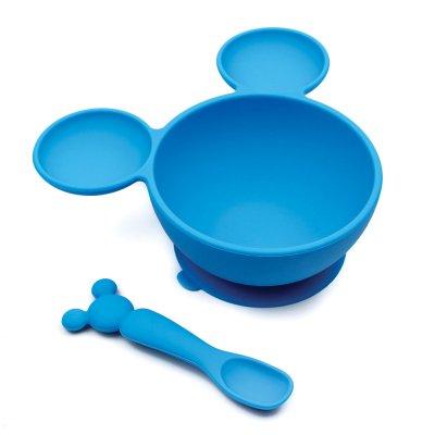 Coffret mon 1er repas en silicone mickey bleu Bulle de bb
