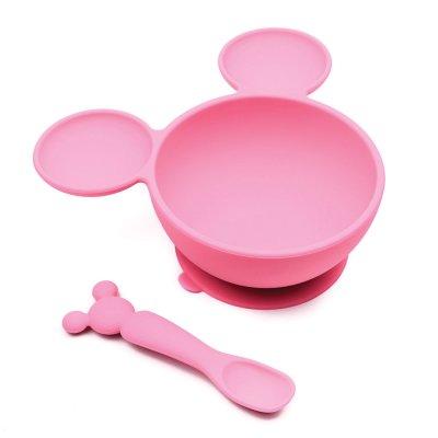 Coffret mon 1er repas en silicone minnie rose Bulle de bb