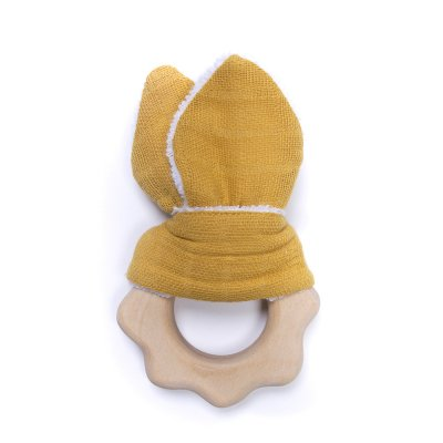 Hochet de dentition bois et coton écailles Bulle de bb