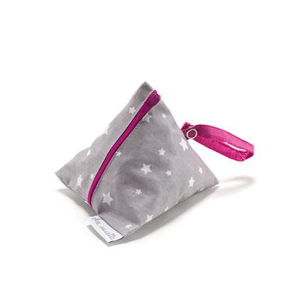Pochette sucette en coton enduit gris étoile et rose Bulle de bb