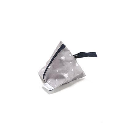 Pochette sucette en coton enduit gris étoile et turquoise Bulle de bb