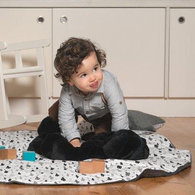 Tapis chambre bébé réversible coton cactus et gris foncé Bulle de bb
