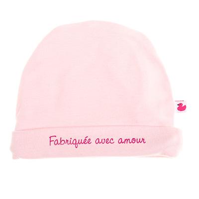Bonnet bébé doublé pur coton fabriqué avec amour rose pastel Bulle de bb