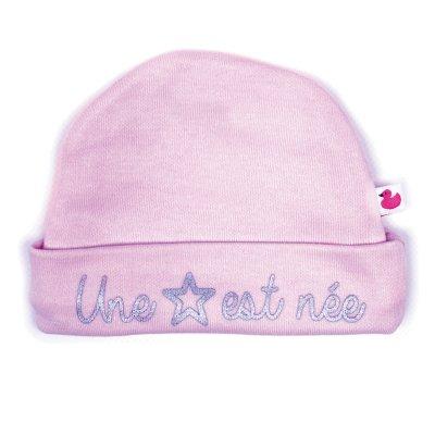 Bonnet bébé doublé pur coton une étoile est née rose pastel Bulle de bb