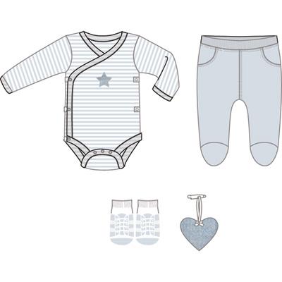 Boîte cadeau (body + pantalon + chaussettes + grigri coeur) bleu Bulle de bb