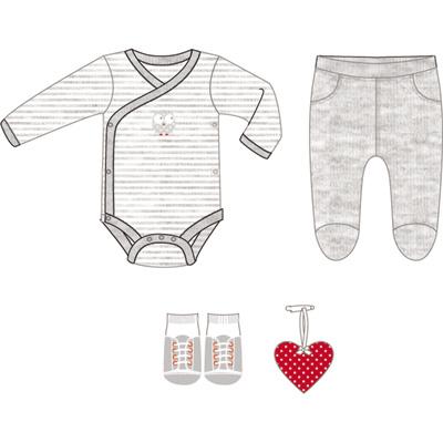 Boîte cadeau (body + pantalon + chaussettes + grigri coeur) gris Bulle de bb