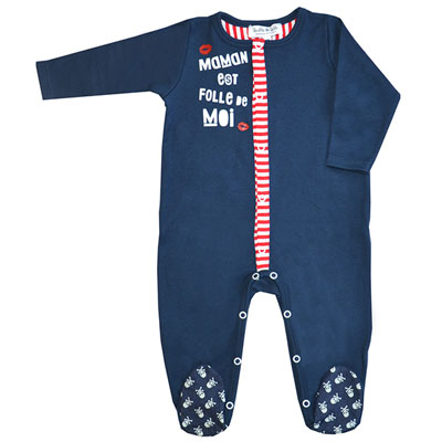 Pyjama été maman est folle de moi marine rayé rouge Bulle de bb