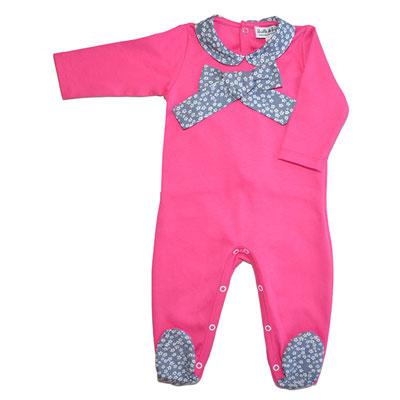 Pyjama été col claudine et gros noeud rose liberty gris Bulle de bb